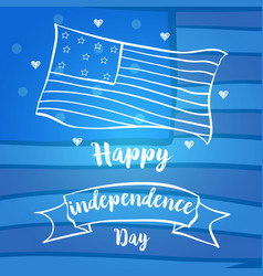 Blue background card for independence day vector