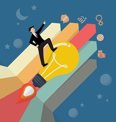 Businessman standing on a lightbulb rocket with vector image vector image