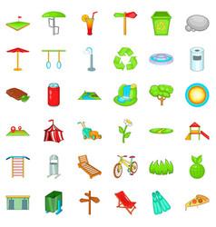 City park icons set cartoon style vector