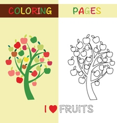 Coloring pages outline apple tree for kids vector