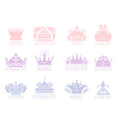 Crown king vintage premium badge heraldic ornament vector