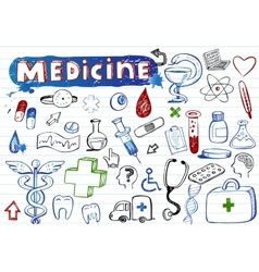 Doodle hospital icons vector