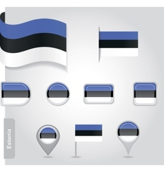 Estonian flag icon vector image vector image