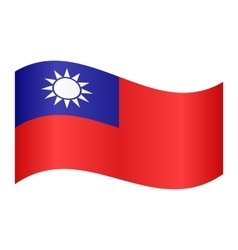 Flag of Taiwan waving on white background vector image vector image