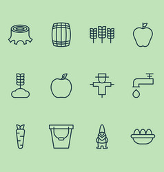 Gardening icons set with pail ovum cereal and vector