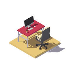 Isometric low poly office workplace vector