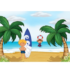 Kids enjoying summer at the beach vector image vector image