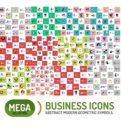 Logo mega set abstract geometric business icon vector