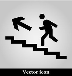 Man on stairs icon on grey background vector