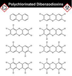Polychlorinated 14- dibenzodioxins dioxine class vector image vector image