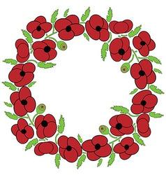Poppy seeds flowers wreath vector
