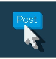 Post Button with Arrow Shaped Cursor vector image