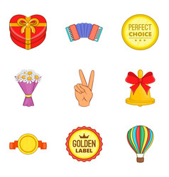 Promo icons set cartoon style vector