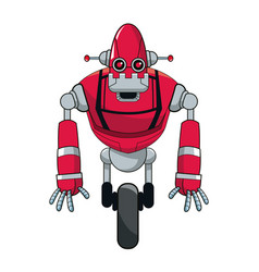 Red robot automation with wheel vector
