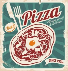 Retro pizzeria poster on old paper texture vector image