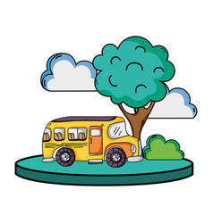 school bus in the city with clouds and tree vector image vector image