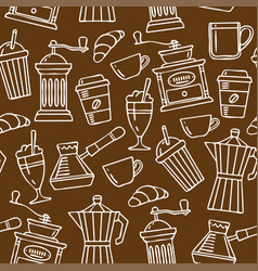 Seamless pattern sketch coffee vector