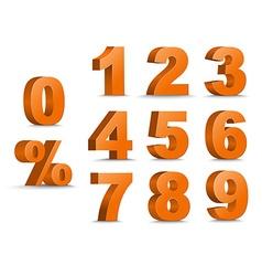 Set of color 3d figures and percent vector