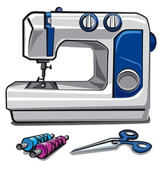 sewing machine and threads vector image vector image