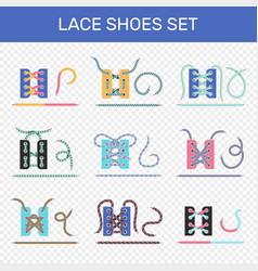 shoe lacing ways transparent set vector image