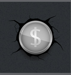 Silver dollar on cracked background vector