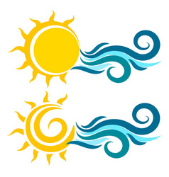 Sun and water waves vector