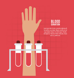 Tube arm hand blood donation icon graphic vector