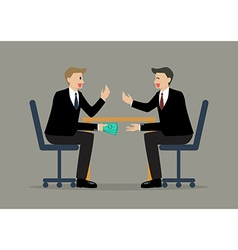 Two Businessmen Passing Money Under the Table vector image vector image