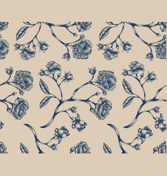 vintage rose seamless pattern vector image