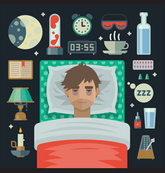Young man with sleep problem insomnia and items vector