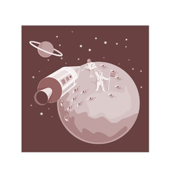 Astronaut landing on moon retro vector