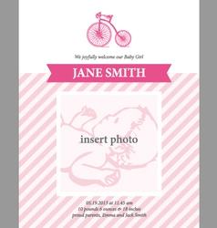 Baby girl announcement card template with bicycle vector