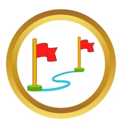 Route with a locator flags icon vector