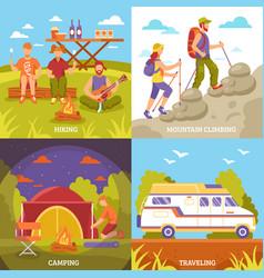 Outdoor recreation compositions set vector