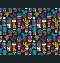seamless pattern with hand drawn cactuses vector image