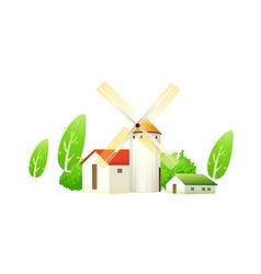 Icon house and windmill vector