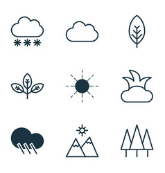 Set of 9 nature icons includes sprout forest vector