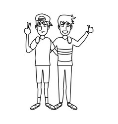 two boys smiling hugging and waving their hands vector image