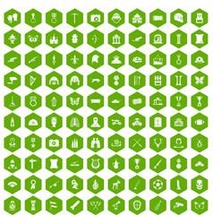 100 museum icons hexagon green vector