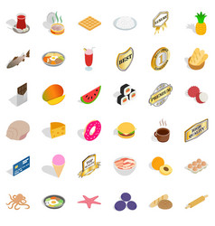 Yummy dishes icons set isometric style vector