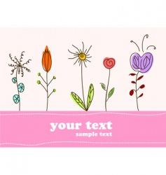 Children gift card flower background vector