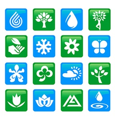 Nature and water icons buttons vector