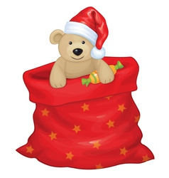 santa bag bear vector image
