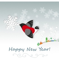 Christmas card with bullfinch vector