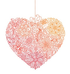 Linear doodles floral heart vector