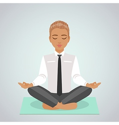 Boy doing yoga vector