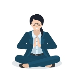 Business woman in a yoga pose vector