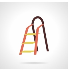 Metal stepladder flat color design icon vector