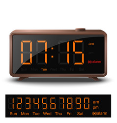 Retro digital alarm clock with orange numbers vector image