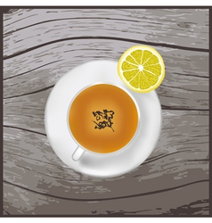A cup of tea on the wood texture vector image vector image